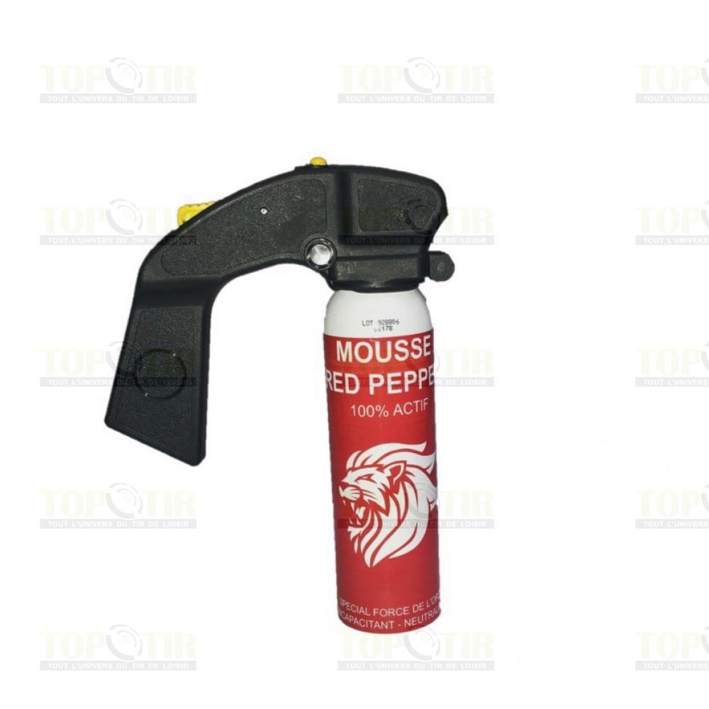 Bombe lacrymogène mousse au poivre 100ml - poignée extincteur