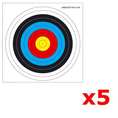 Lot de 5 Blasons pour Arc / Arbalète 40x40cm  FITA TEMPLE