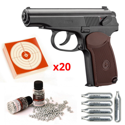 Pack pistolet CO2 culasse fixe BORNER PM49 Marakov Cal.4.5mm BB'S