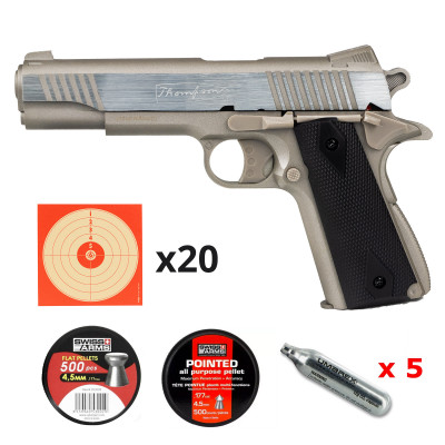 Pack Colt 1911 Thompson Silver - chargeur double barillet 4,5mm CO2