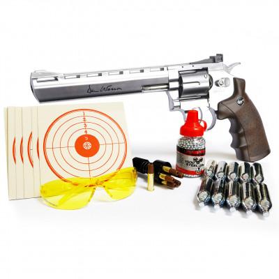 """Kit Revolver Dan Wesson chromé """"8"""" cal. 4.5 mm BBs"""