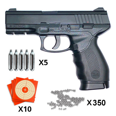 Pack pistolet à billes Swiss Arms SA24 CO2 2.6j Cal. 4.5 mm