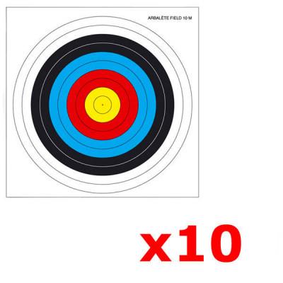 Lot de 10 cibles arbalete Field 25X25 cm